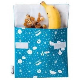 Pochette à goûter enfants - Lavable et Réutilisable - Bleu turquoise