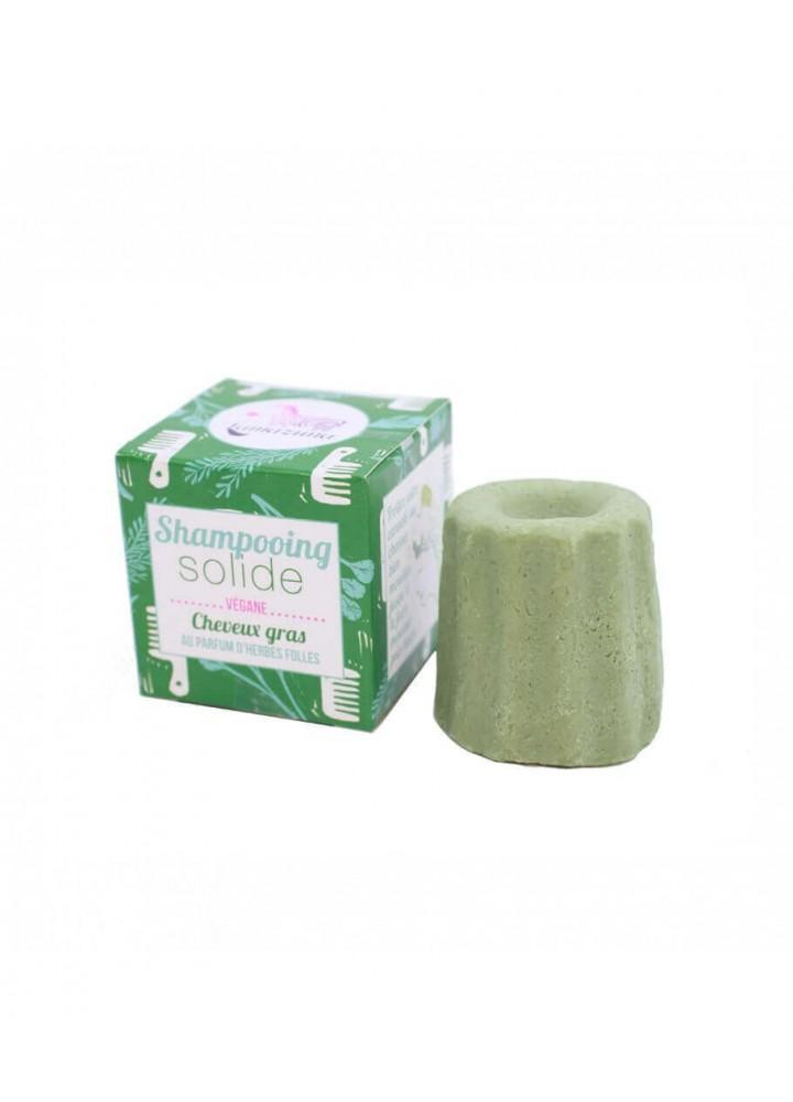 Shampoing zéro déchet pour cheveux gras herbes folles de chez Lamazuna