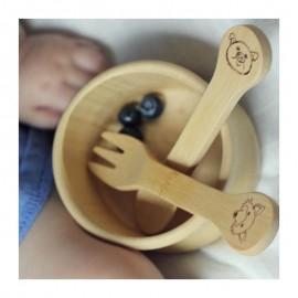 Fourchette et cuillère en bambou bébé 18 mois - My Little Cabane