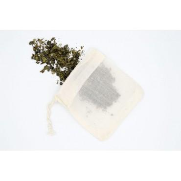 5 sachets à thé réutilisables en coton bio