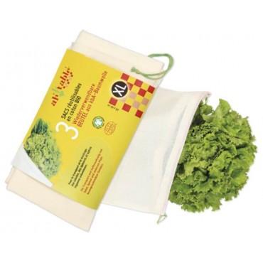 Lot de 3 sacs Fruits et Légumes XL 40 x 40cm - Ah ! Table !