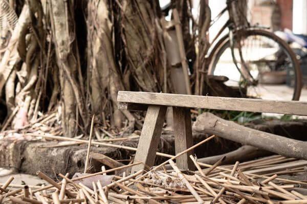 Ferme de fabrication paille bambou